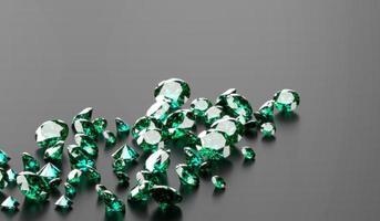Green Emerald Diamond Group In Dark Background, 3d illustration. photo