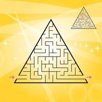 A triangular labyrinth, a pyramid with a black stroke. A game for children. A simple flat vector illustration isolated on a colored background. With the answer.