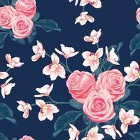 patrón sin fisuras botánico rosa rosa y flores de orquídea rosa sobre fondo azul oscuro abstracto. ilustración vectorial dibujo estilo acuarela. para el diseño de papel tapiz usado, tela textil o papel de regalo. vector