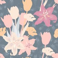 Seamless pattern pastel color Tulips and Lilly flowers abstract background. Illustration drawing flat design. repeat floral wallpaper fabric print. vector