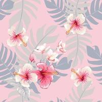 Seamless floral pattern pink Hibiscus and Orchid flowers on pastel color isolated background. Vector illustration watercolor hand drawing.