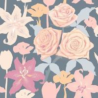 Seamless pattern pastel color Rose Tulips and Lilly flowers abstract background. Vector illustration drawing flat design. repeat floral wallpaper fabric print.