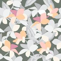 Seamless pattern Frangipani flowers pastel abstract background. Vector illustration drawing.