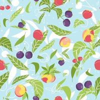 Bright summer fruits and berries seamless pattern. Vector illustration of cherries, peaches, plums, nectarines, leaves on blue background in flat style