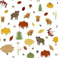 Bright boar family seamless pattern. Vector illustration has leaves, acorns, maple, pumpkin, mushrooms, trees, berries, boar father and mother, little baby piglets
