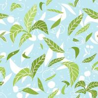 Green blue summer leaves seamless pattern. Vector illustration of cherries, plums, leaves silhouettes on blue background in flat and doodle style
