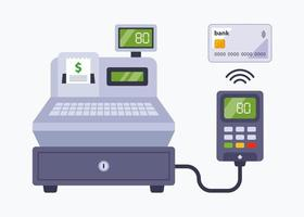 payment in the store using a bank card. contactless payment through a cash register in a supermarket. flat vector illustration.