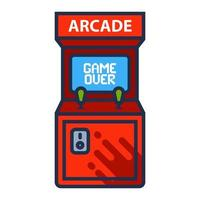 Wearcade machine icon with game over screen. flat vector illustration.