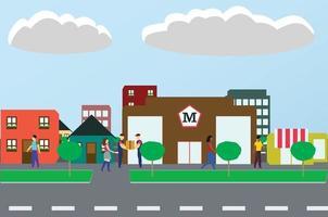 Building Community town vector illustration
