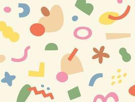 Abstract cute geometric doodles are scattered and form a pattern. Simple pattern design template. vector