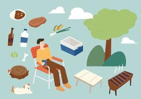 A collection of camping men and objects needed for camping. flat design style minimal vector illustration.