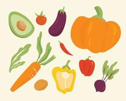 A collection of various vegetables. flat design style minimal vector illustration.