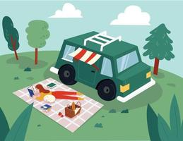 A woman is reading a book on a mat next to a RV. Her cute dog is asleep next to her. flat design style minimal vector illustration.