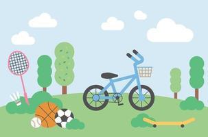 Bike and sports balls, badminton racket and shuttlecock on park background. flat design style minimal vector illustration.