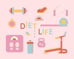 Equipment needed for diet. flat design style minimal vector illustration.