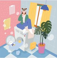 laundry room. A girl is sitting on a washing machine overflowing with water and eating pizza. flat design style minimal vector illustration.
