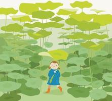 A child is walking through a huge lotus leaf forest wearing a lotus leaf umbrella. vector design illustrations.
