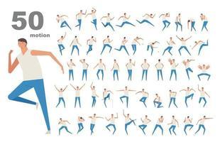 50 movimientos de un personaje masculino. ilustraciones de diseño vectorial. vector