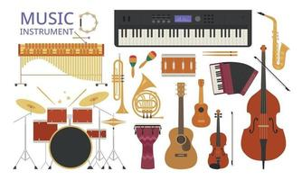 A collection of various instruments. vector design illustrations.