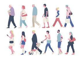 Side view of various people on the street. vector design illustrations.