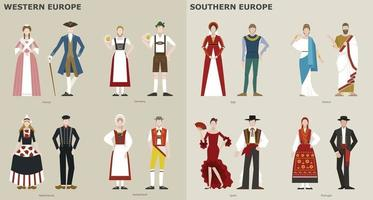 A collection of traditional costumes by country. Europe. vector design illustrations.