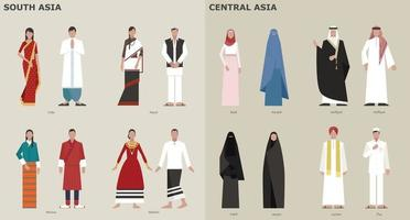 A collection of traditional costumes by country. Central Asia. vector design illustrations.