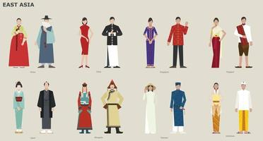 A collection of traditional costumes by country. East Asia. vector design illustrations.