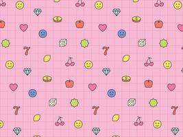 Cute gambling icons arranged on pink grid. Simple pattern design template. vector