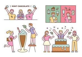 People prefer mint flavored foods. flat design style minimal vector illustration.
