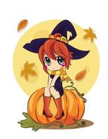 A Halloween witch sits against a full moon. The autumn holidays. Vector, flat style, cartoon. vector