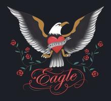 Vintage eagle tattoo hand drawn design vector