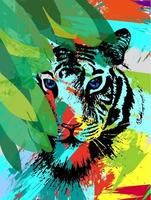 Tiger under leafes painting vector