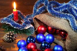 New Year's still life with Christmas decorations. photo
