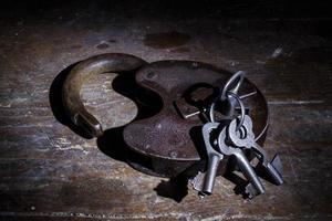 Old lock with keys in the dark photo