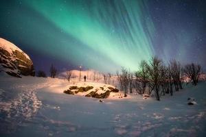Landscape of snowy mountain with aurora borealis explosion photo