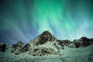 Aurora borealis explosion on snow mountain photo