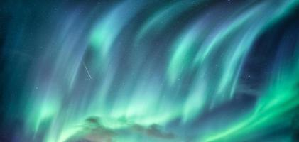 Aurora Borealis, Northern Lights in the night sky on Arctic Circle at Scandinavia photo