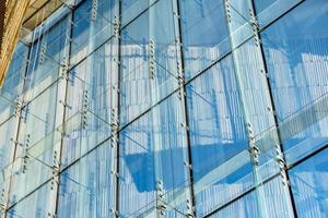 Constructor of blue transparent glass windows photo