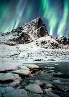 Aurora borealis, Northern lights explosion over mountains in glacier photo