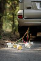 tin cans tied with ribbons photo