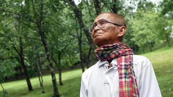Portait of senior man enjoying nature in the park. Senior retired man enjoying the freedom of retirement. video
