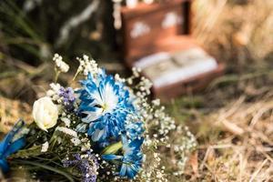 blue brides bouquet photo