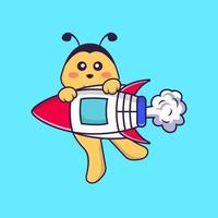 Cute bee flying on rocket. Animal cartoon concept isolated. Can used for t-shirt, greeting card, invitation card or mascot. Flat Cartoon Style vector