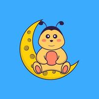 Cute bee is sitting on the moon. Animal cartoon concept isolated. Can used for t-shirt, greeting card, invitation card or mascot. Flat Cartoon Style vector