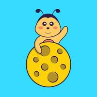 Cute bee is on the moon. Animal cartoon concept isolated. Can used for t-shirt, greeting card, invitation card or mascot. Flat Cartoon Style vector
