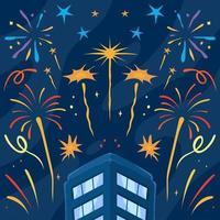 Fireworks Festival in the City Night Sky vector