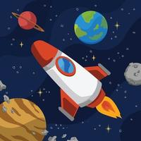 Outer Space Journey with a Rocket vector