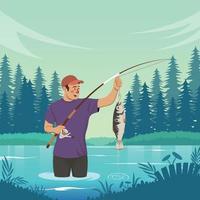Summer Fishing Activity in Lake vector