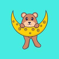 Cute squirrel is on the moon. Animal cartoon concept isolated. Can used for t-shirt, greeting card, invitation card or mascot. Flat Cartoon Style vector