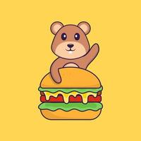 Cute squirrel eating burger. Animal cartoon concept isolated. Can used for t-shirt, greeting card, invitation card or mascot. Flat Cartoon Style vector